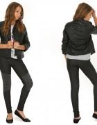 Leginsy jeansowe ze sztruksowymi wstawkami 158...