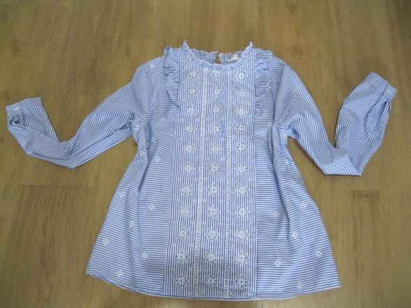 bluzka koszula paski niebieskie 40 koronka