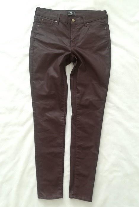 Gap bordowe woskowane spodnie M L...