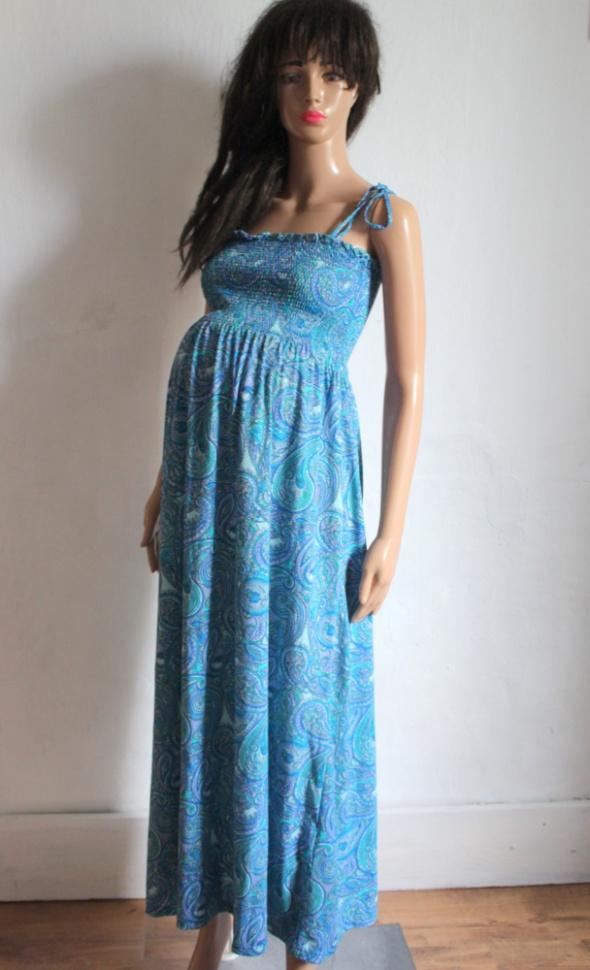 Letnia sukienka maxi we wzory idealna na ciążę r XS