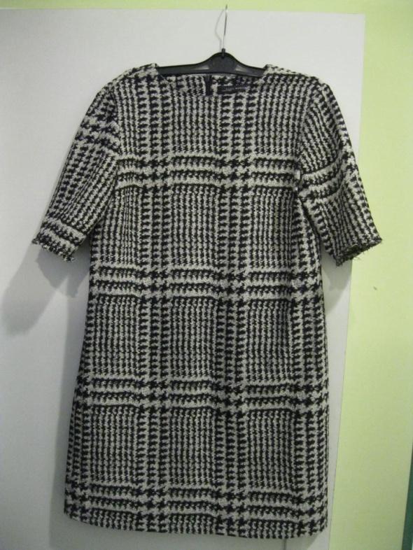 sukienka ZARA M kremowo czarna