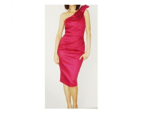 ASOS sukienka wesele elegancka malinowa 36