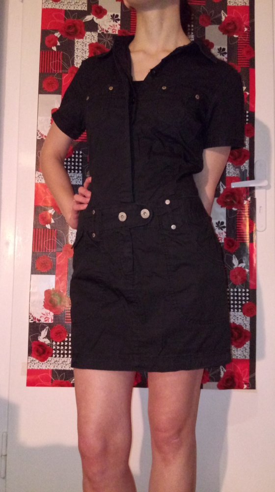 Suknie i sukienki Czarna mini militarna