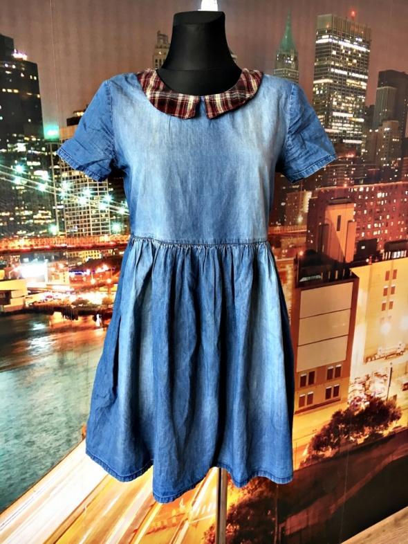 river island sukienka mini kołnierzyk ala jeans dżins 36 38