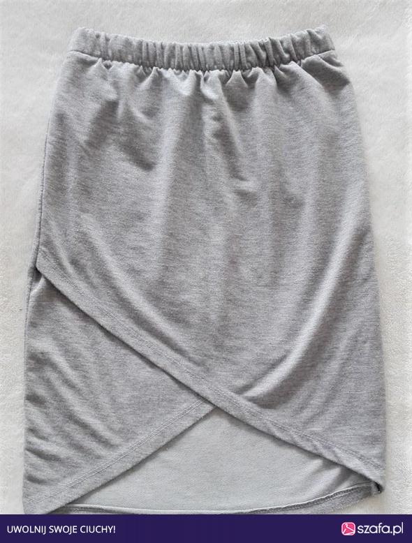 Szara siwa kopertowa zakładana spódniczka spódnica s m w