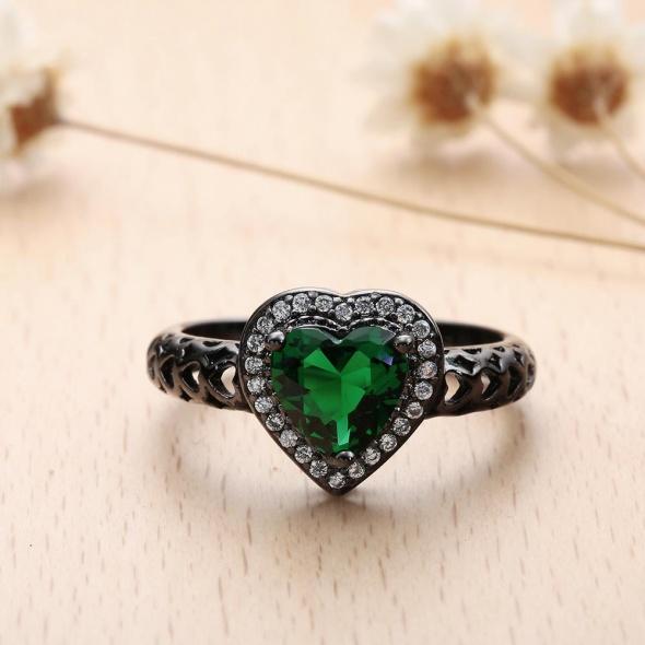 Nowy czarny pierścionek zielona cyrkonia serce serduszko ażurowe zdobienie