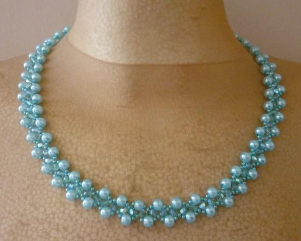 Naszyjnik perełki koraliki bransoletka kolor niebieski