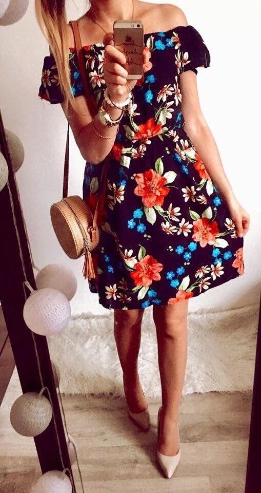 Sukienka Damska w kwiaty hiszpanka M
