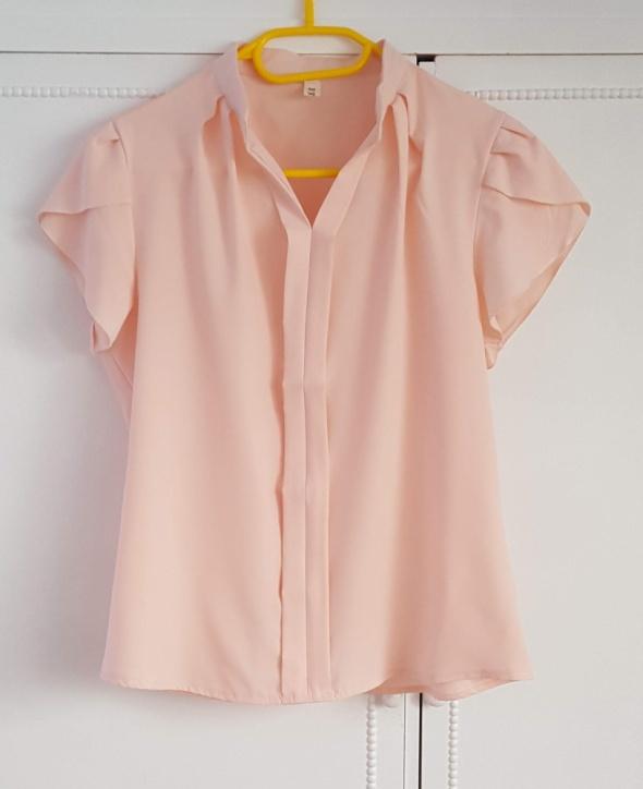 Różowa bluzka top 40 L elegancka biurowa pudrowy jasny róż