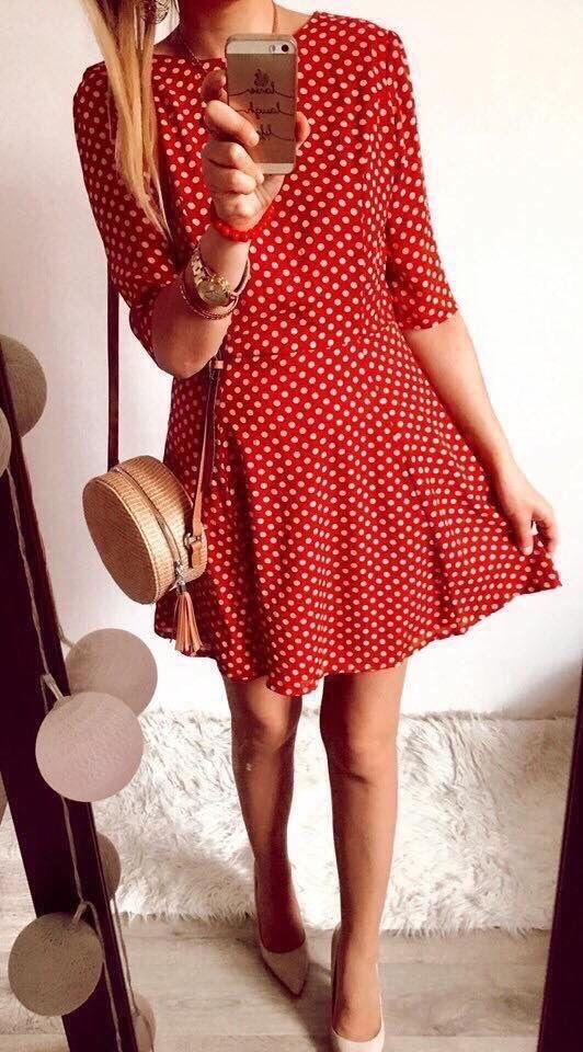 Sukienka Damska w kropki M Czerwona