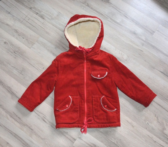 Czerwona kurtka sztruksowa z kapturem 98 Runky dziecięca unisex ocieplana