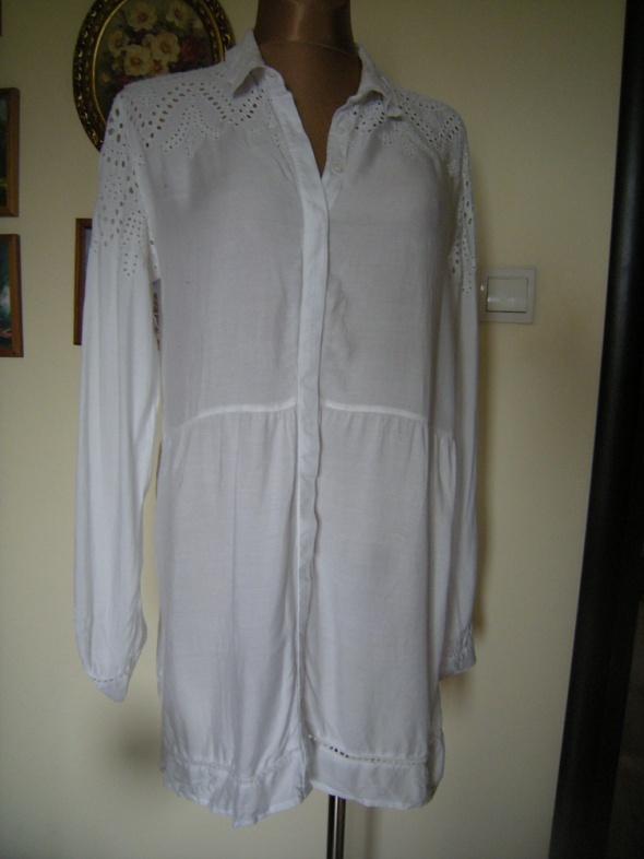 Suknie i sukienki biała bawełniana koszulowa tunika sukienka Bik Bok L XL