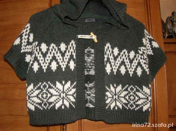 ONLY krótki sweterek z kapturem norweski wzór M L...