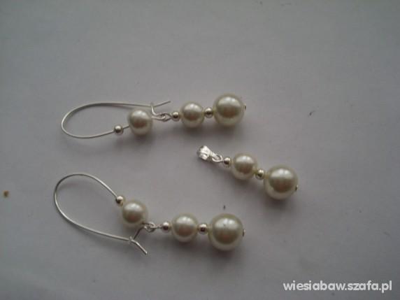 Kolczyki wisior perły jasno kremowe