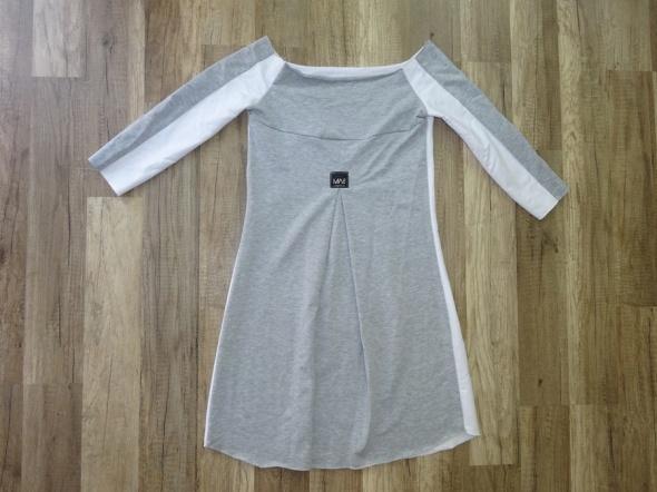 biało szara tunika sukienka rękaw do połowy 34 XS