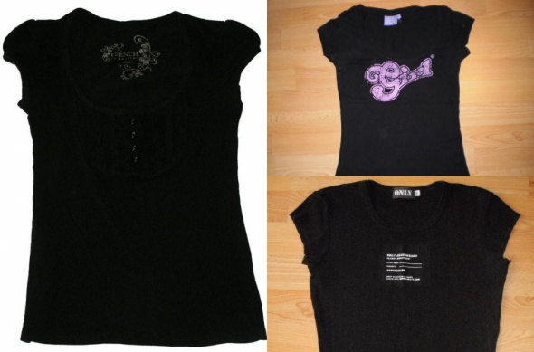 3 czarne tshirty bluzeczki 1ONLY 2DIVERSE 3BUTIK...