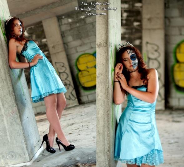 Babyblue niebieska sukienka koronka rozkloszowana