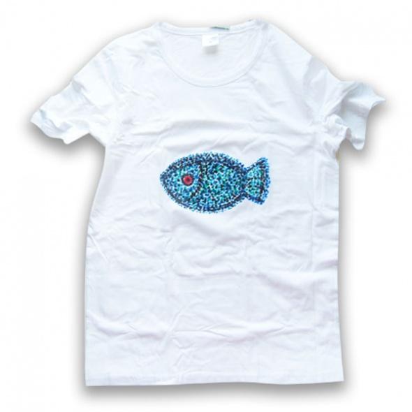 Biała koszulka z rybą koszulka rozmiar M