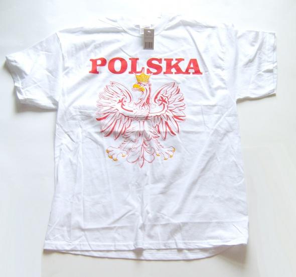 biała koszulka z orzełkiem koszulka z napisem Polska godło koszulka