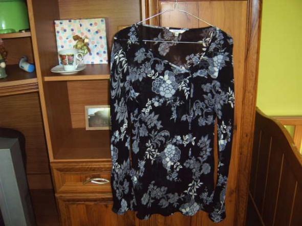 Bluzka mgiełka czarna w białe kwiaty 40 L 42 XL