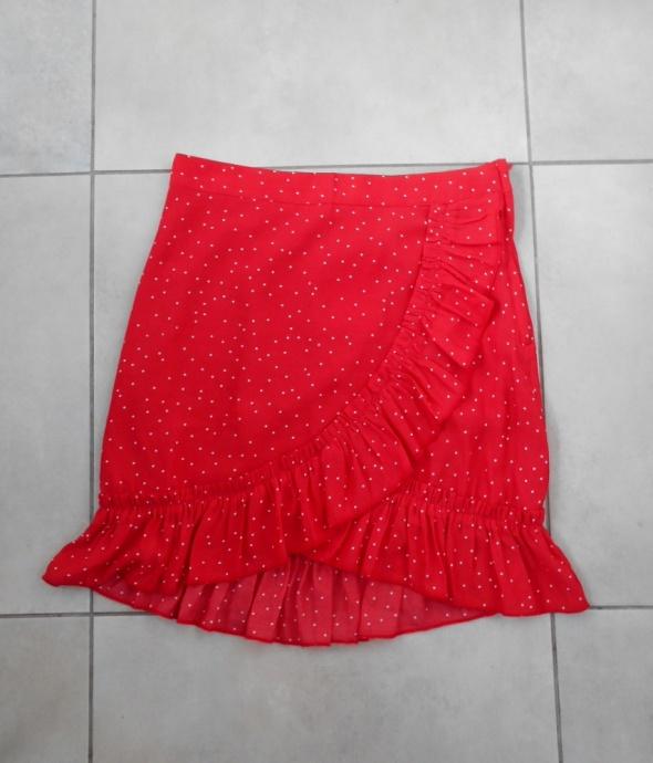 H&M nowa spódniczka czerwona kropki falbanki mini zakładana