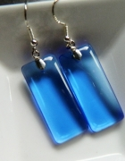 Niebieski kryształ prostokąty w srebrze kolczyki...