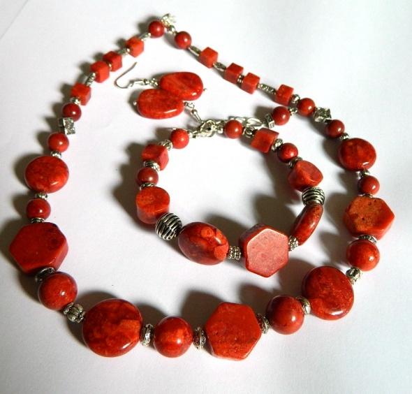 Zestaw biżuterii z korala 3 elementy