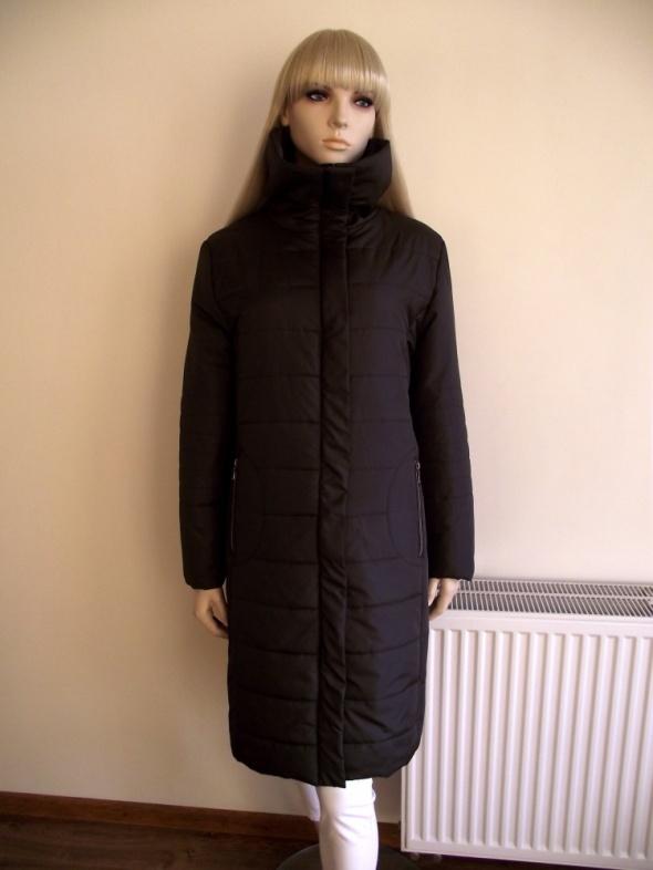 Długa brązowa ciepła pikowana kurtka płaszcz Biaggini XL
