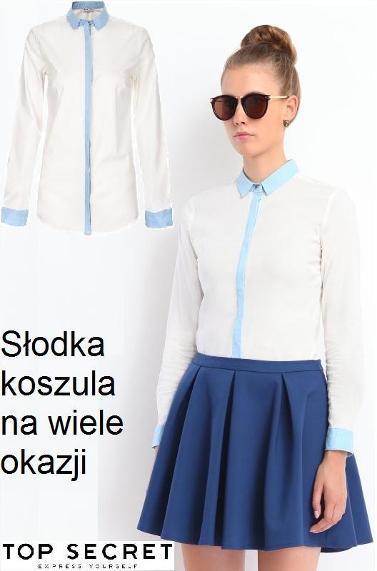 Koszula z błękitnymi lamówkami 32 34 36