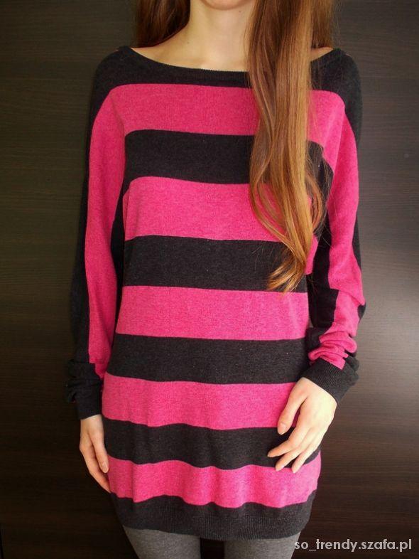 Sweterek w różowo czarne paski H&M 38 M sweter