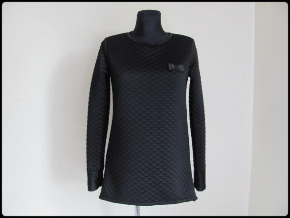 Sweter 40 L pikowany elegancki z kokardką czarny