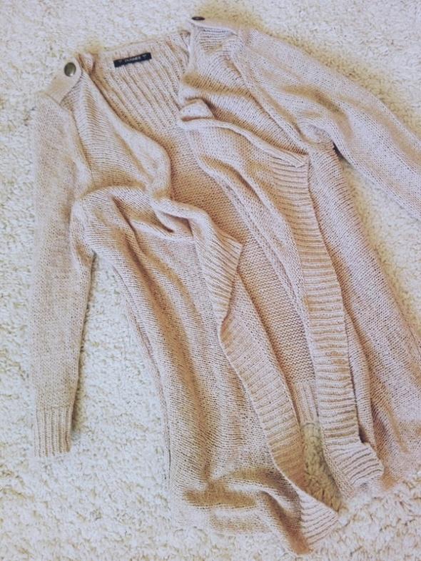 sweter oversize beżowy kardigan kremowy waterfall L 40