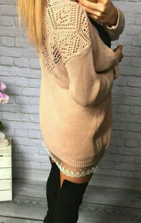 sweterek koronką haft pudrowy roz