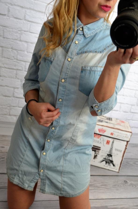 długa koszula jeans na zatrzaski