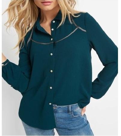XL NOWA Bluzka koszula butelkowa zieleń z lamówką ORSAY