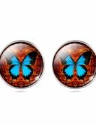 Kolczyki na sztyfcie z motylem