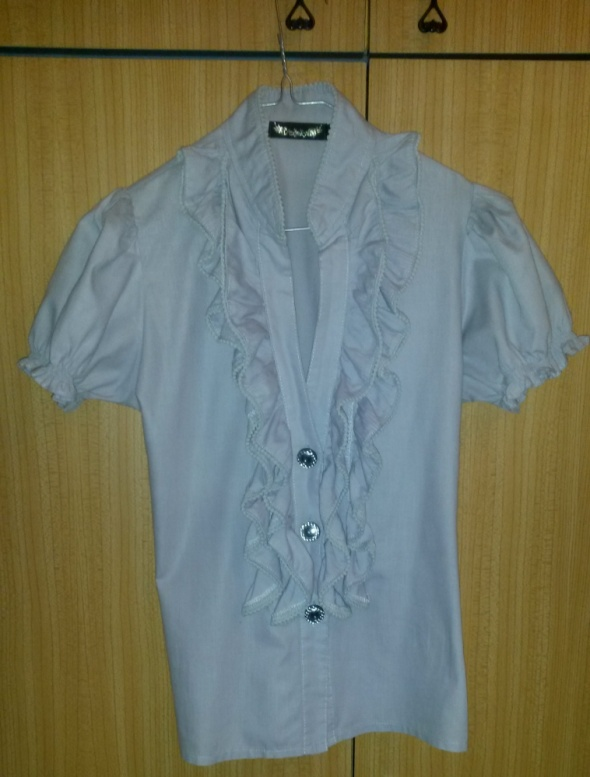 Szara bluzka z żabotem S