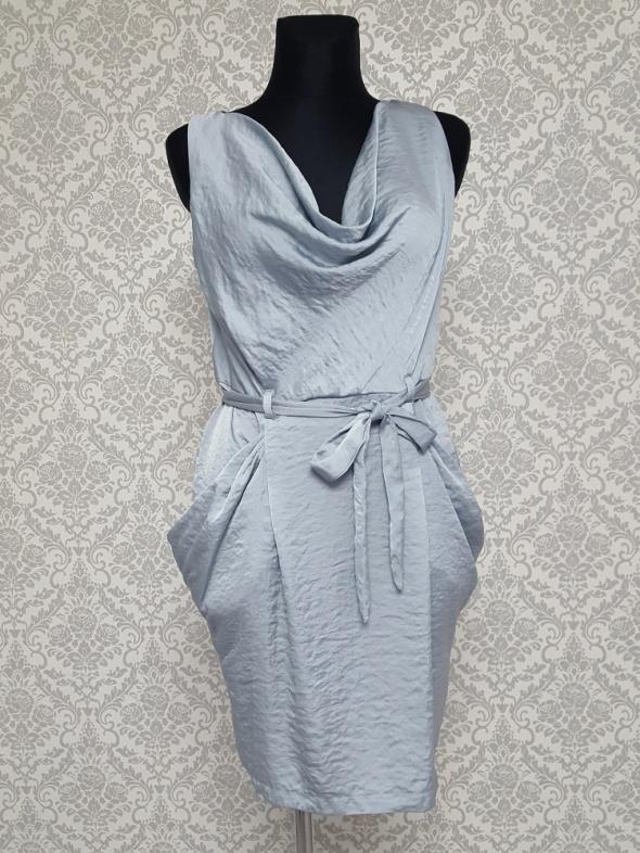 stalowa sukienka z duzymi kieszeniami River Island...