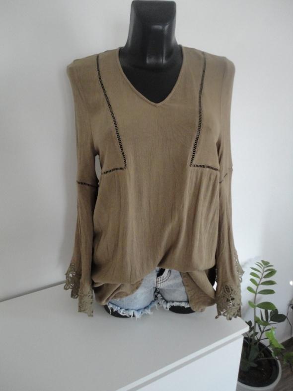oliwkowa tunika sukienka boho etno hippie M L H&M