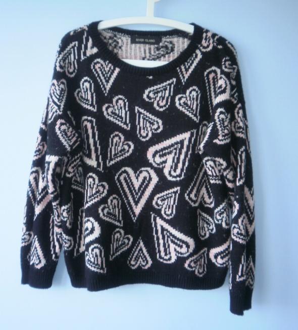 River Island gruby sweter serca wzory oversize...