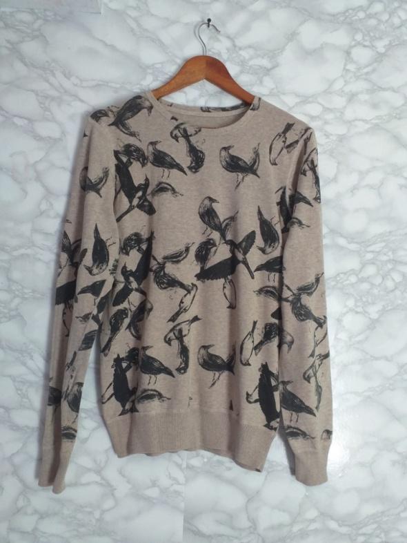 House beżowy kawowy sweter sweterek w ptaki wzór 38 M...