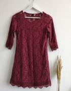 Sukienka bordowa koronka S