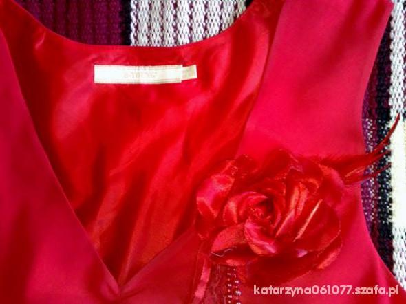 Suknie i sukienki CZERWONA SUKIENKA MAXI 44 Z RÓŻĄ