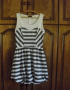 Topshop sukienka bombka w paski biało szara 34 36