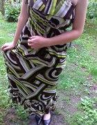 Amisu sukienka maxi dress falbany we wzory zwiewna...