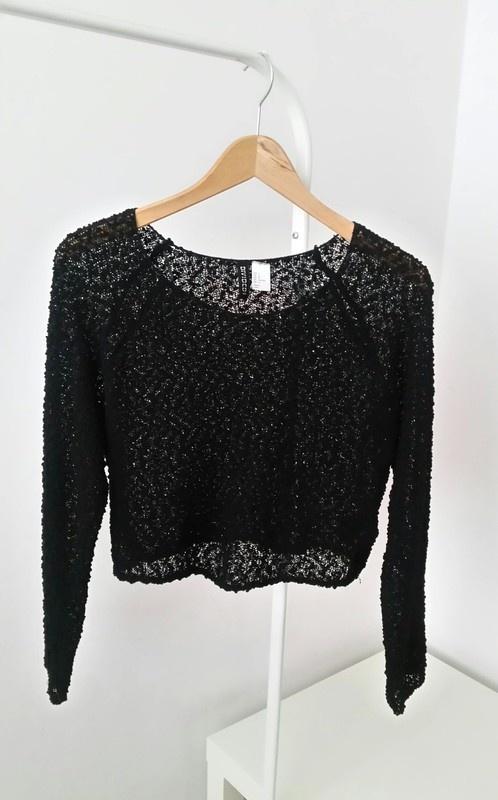 Czarny azurowy sweterek H&M crop top...