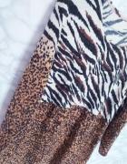 Nowa sukienka oversize dzianinowa sweterkowa print zwierzęcy L ...