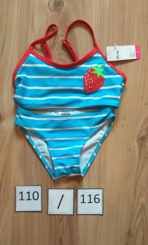 Błękitny dwuczęściowy nowy strój kąpielowy dziewczęcy 110 116