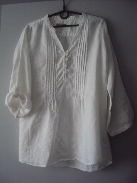 biała bawełnina tunika z koralikami...