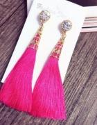 Różowe kolczyki frędzle z cyrkonią...